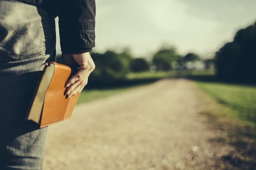 man-holding-a-Bible-at-his-side-looking-down-a-long-dirt-road-Travis-Hallmark-760x506